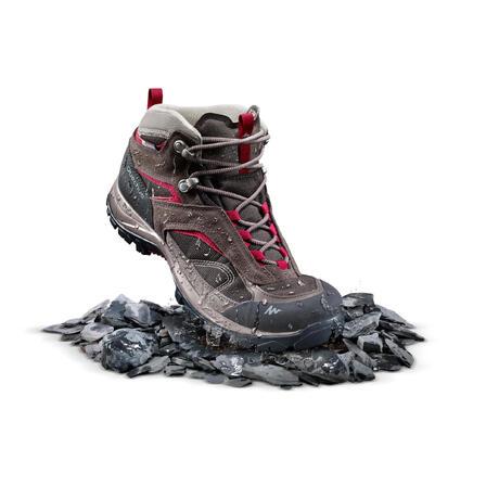 08c8deb116c Chaussures de randonnée montagne femme MH100 Mid imperméables Marron ...