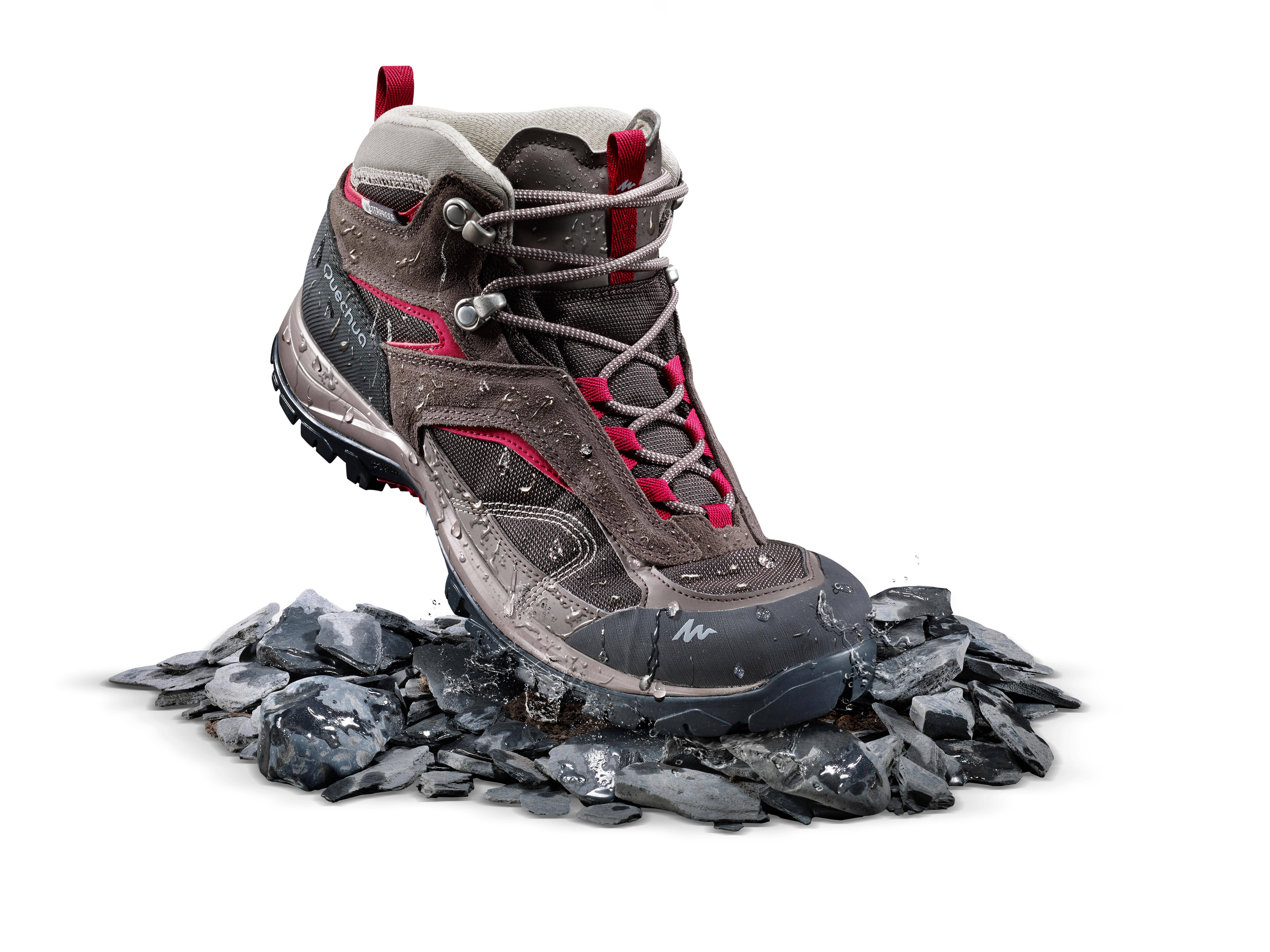 Chaussures de randonnée montagne femme MH100 Mid imperméable brun
