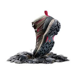 女款中筒防水登山健行鞋MH100-棕色