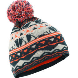 TUQUE DE SKI KID JACQUARD PÉTROLE ORANGE