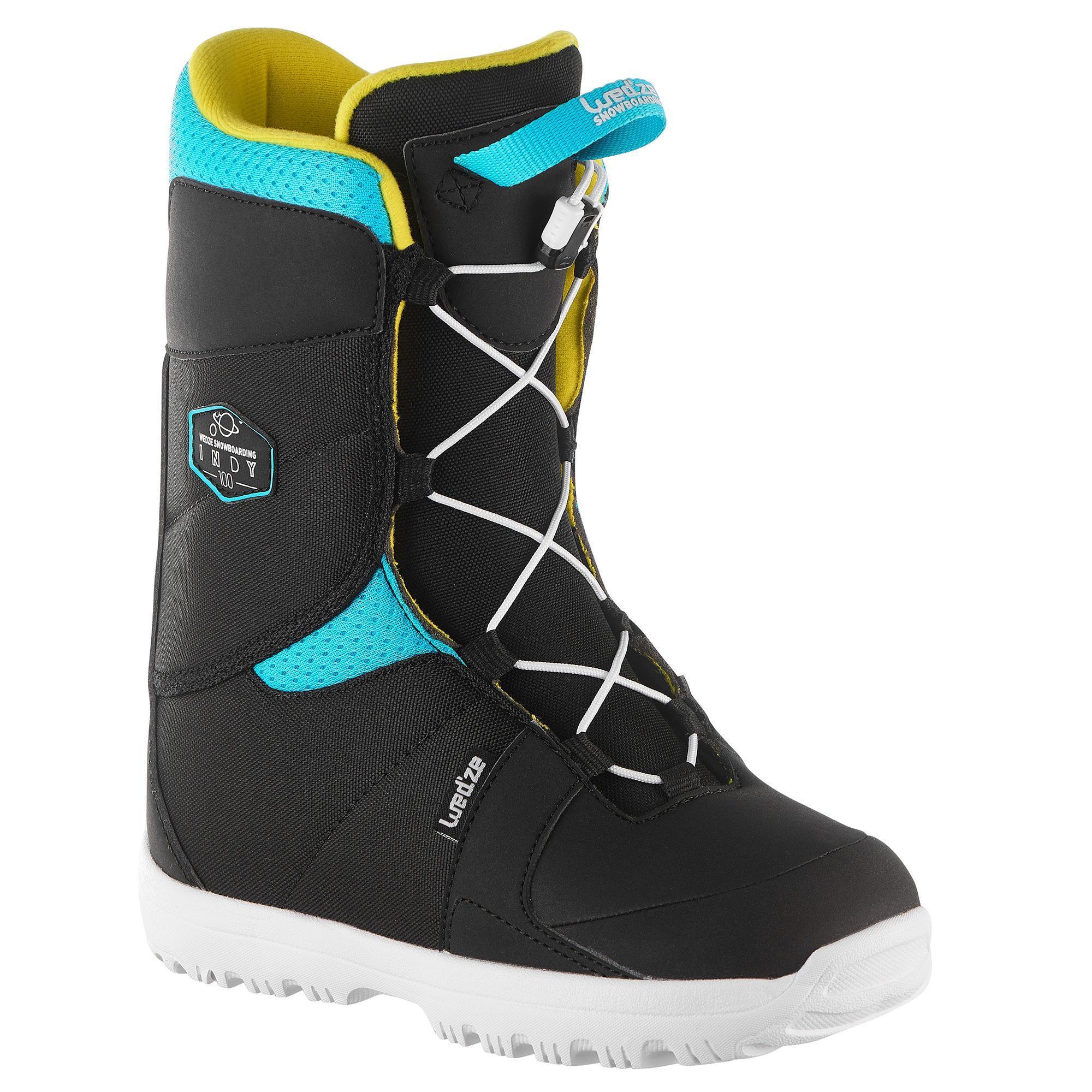 Jungen,Kinder,Kinder Snowboardschuhe Fast Lock Indy 100 Kinder (Größen 30-33)blau gelb | 03608449879514