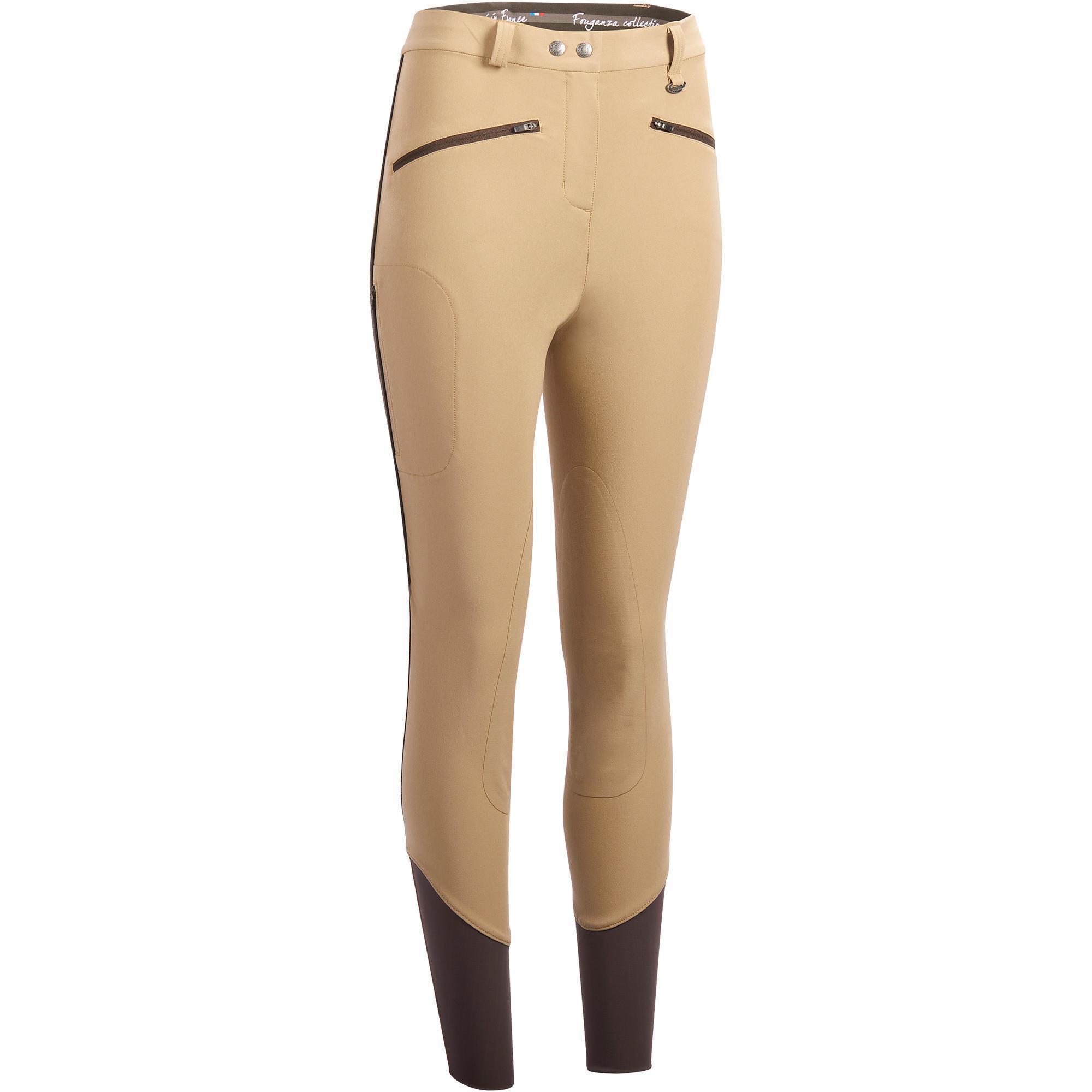 Reithose BR500 Mesh Damen Kniebesatz beige/braun | Sportbekleidung > Sporthosen > Sonstige Sporthosen | Beige - Braun | Lycra | Fouganza