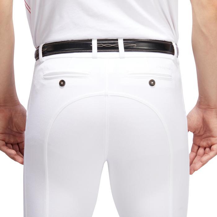 Pantalón de concurso equitación hombre 140 badanas adherentes blanco