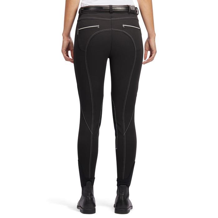 Pantalón equitación mujer BR700 badanas negro