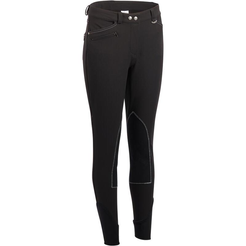 Jojimo kelnės BR700 moterims su įsiuvais balnui – juodos