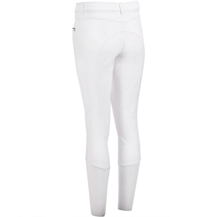 Wedstrijdbroek voor paardrijden dames 580 Fullgrip siliconen zitvlak wit
