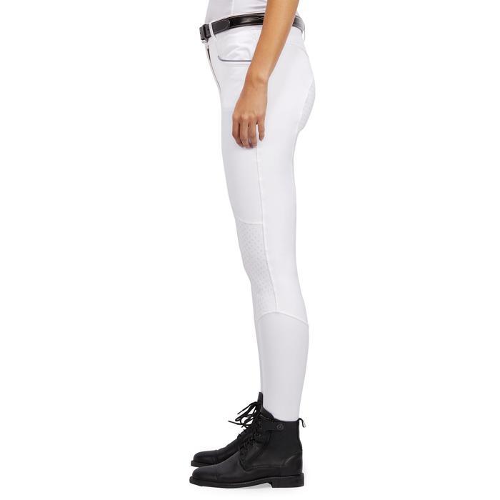 Pantalon de concours équitation femme 580 FULLGRIP assise silicone blanc