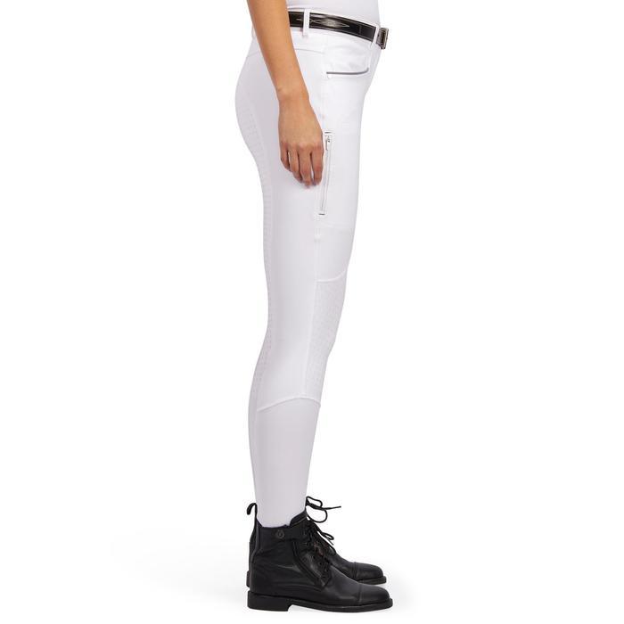 Pantalon Concours équitation femme BR980 fullgrip assise complète silicone blanc - 1254936