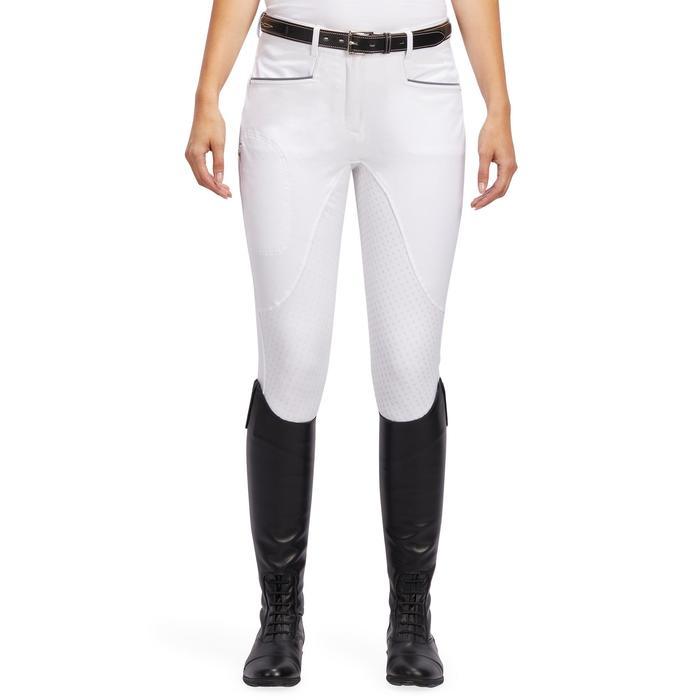 Pantalon Concours équitation femme BR980 fullgrip assise complète silicone blanc - 1254937
