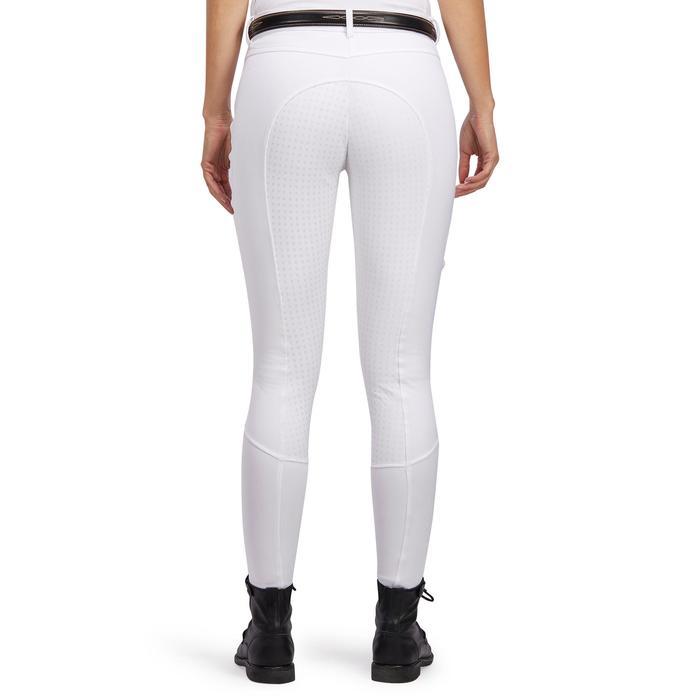 Pantalón de concurso equitación mujer 980 LIGHT badanas silicona blanco