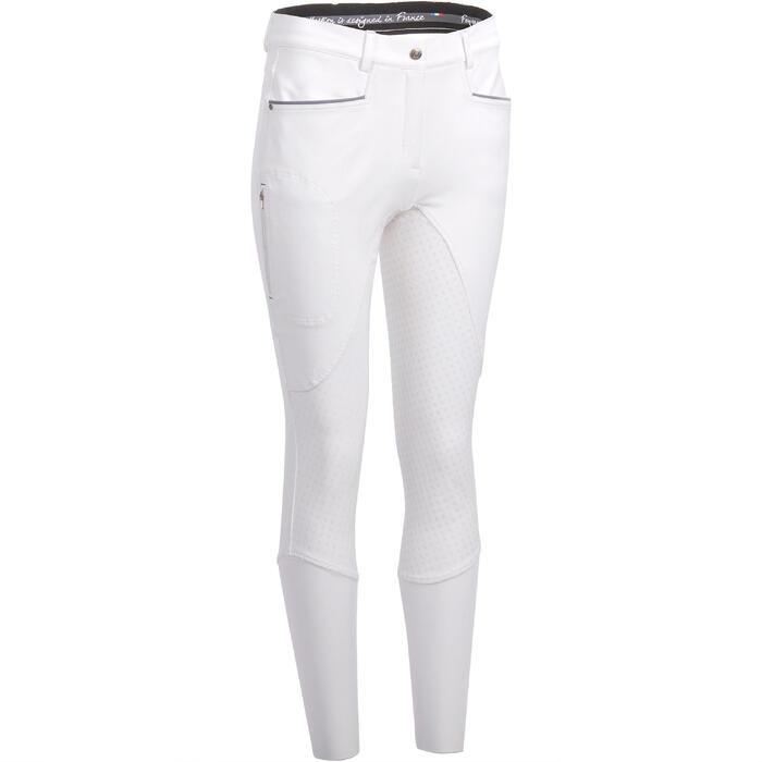 Pantalon Concours équitation femme BR980 fullgrip assise complète silicone blanc - 1254947