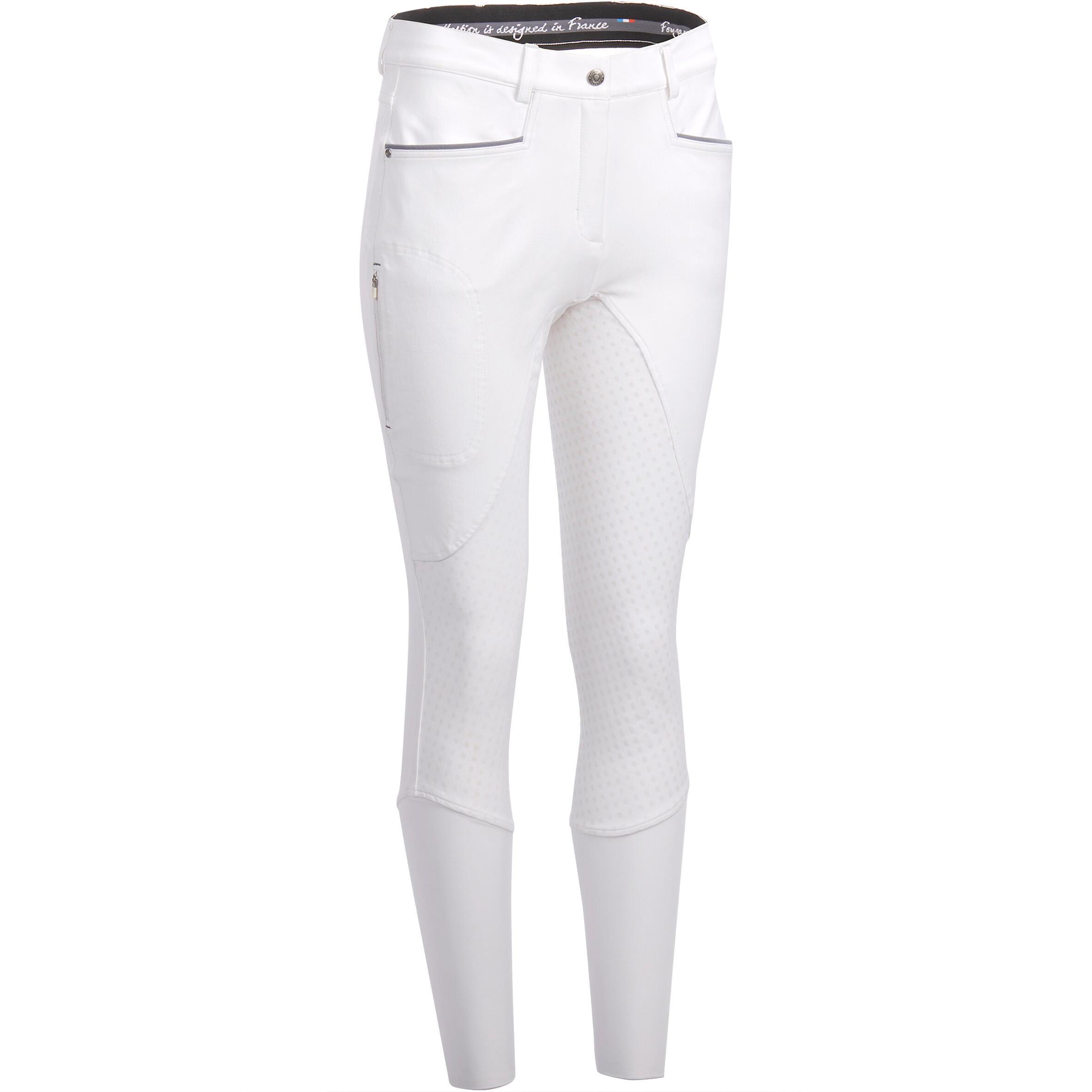 Turnierreithose 580 Fullgrip Silikonvollbesatz Damen weiß   Sportbekleidung > Sporthosen > Sonstige Sporthosen   Fouganza