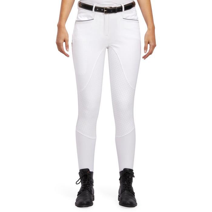Pantalon Concours équitation femme BR980 fullgrip assise complète silicone blanc - 1254950