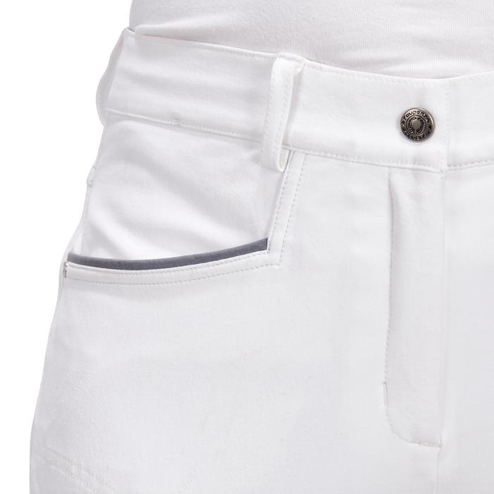 Pantalon Concours équitation femme BR980 fullgrip assise complète silicone blanc