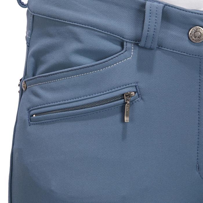 Pantalón equitación mujer BR700 badanas gris azulado