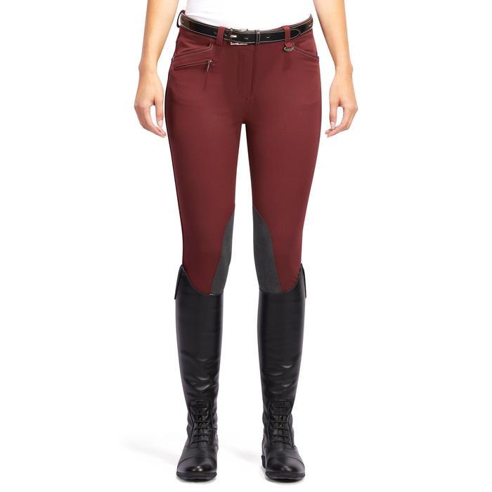 Pantalón equitación mujer BR700 badanas burdeos