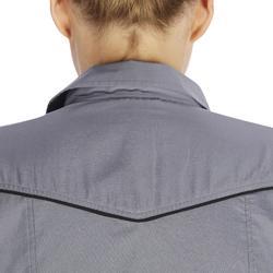 Camisa Equitación OKKSO 580 Mujer Gris Manga Larga