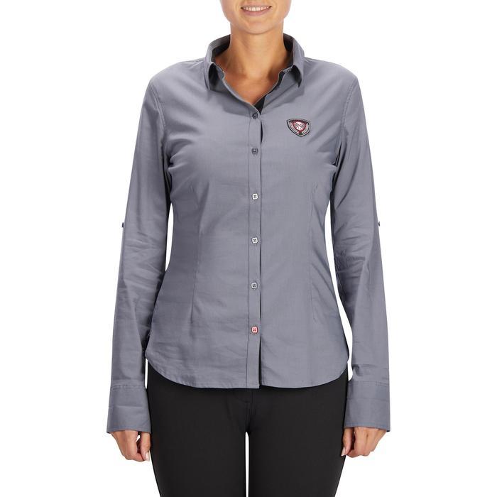 Chemise manches longues équitation femme Lady 700 grise - 1255103
