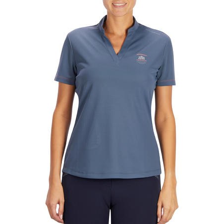 50 Mesh Women's Horse Riding Short-Sleeved Polo Shirt - Grey/Navy