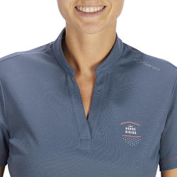50 Mesh Women's Horseback Riding Short-Sleeved Polo Shirt - Grey/Navy