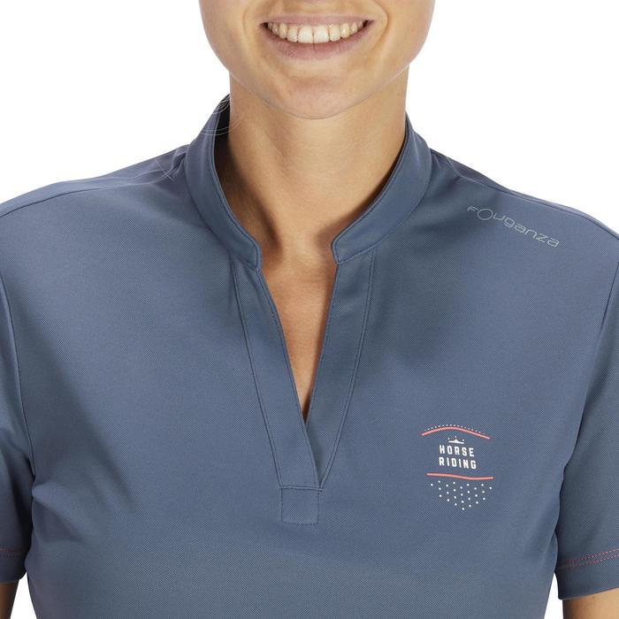 Polo manches courtes équitation femme PL500 MESH bleu marine et - 1255113