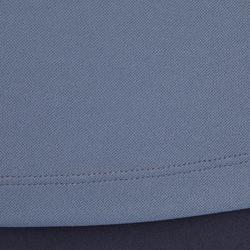 Polo de manga corta equitación mujer 500 MESH gris y azul marino