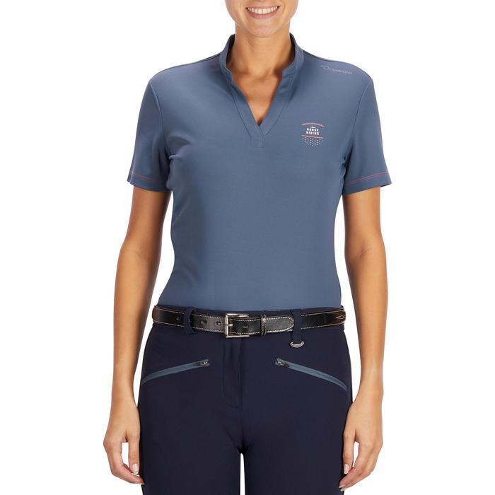 Polo manches courtes équitation femme PL500 MESH bleu marine et - 1255117