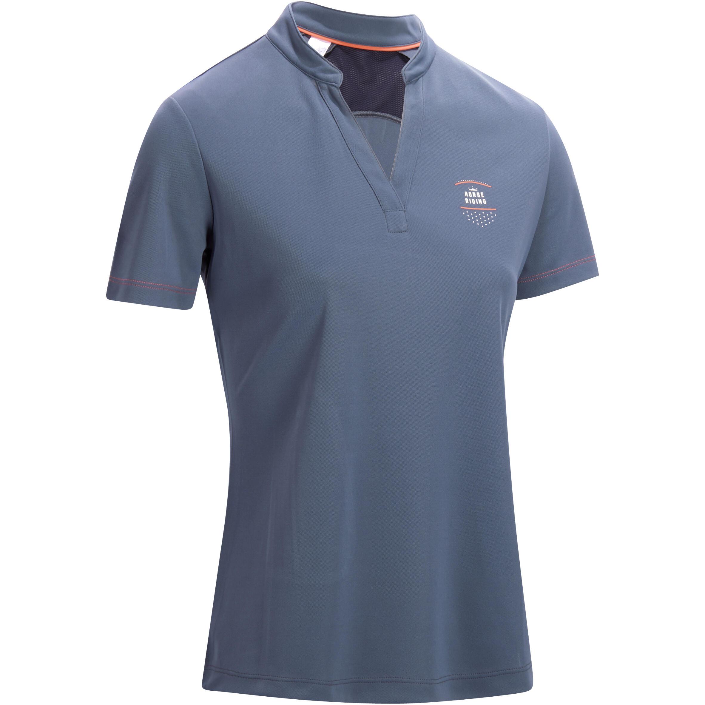 Fouganza Damespolo met korte mouwen ruitersport PL500 mesh grijs en marineblauw