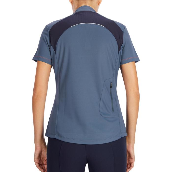 Damespolo met korte mouwen ruitersport mesh grijs/marineblauw