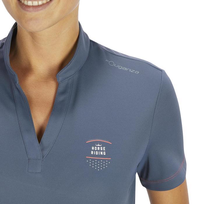 Polo manches courtes équitation femme PL500 MESH bleu marine et - 1255120