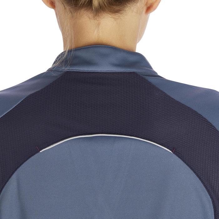 Polo manches courtes équitation femme PL500 MESH bleu marine et - 1255121
