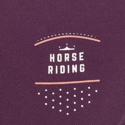 Polo de manga corta equitación mujer PL500 MESH ciruela y gris