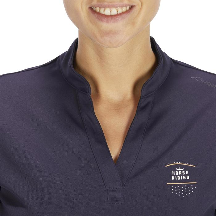 Polo manches courtes équitation femme PL500 MESH bleu marine et - 1255187
