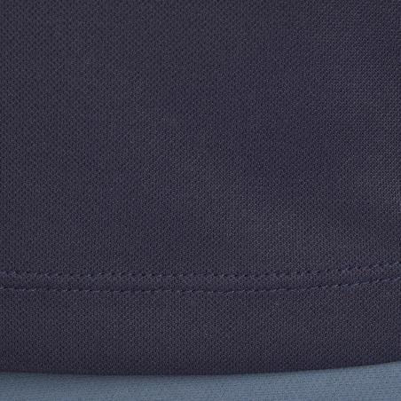 Playera tipo polo manga corta equitación. Mujer PL500 MESH azul marino y gris
