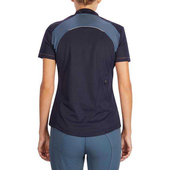Polo manches courtes équitation femme PL500 MESH bleu marine et - 1255190