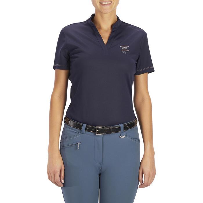 Polo manga corta equitación mujer PL500 MESH azul marino y gris