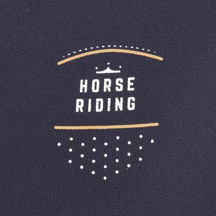Polo manches courtes équitation femme PL500 MESH bleu marine et - 1255193