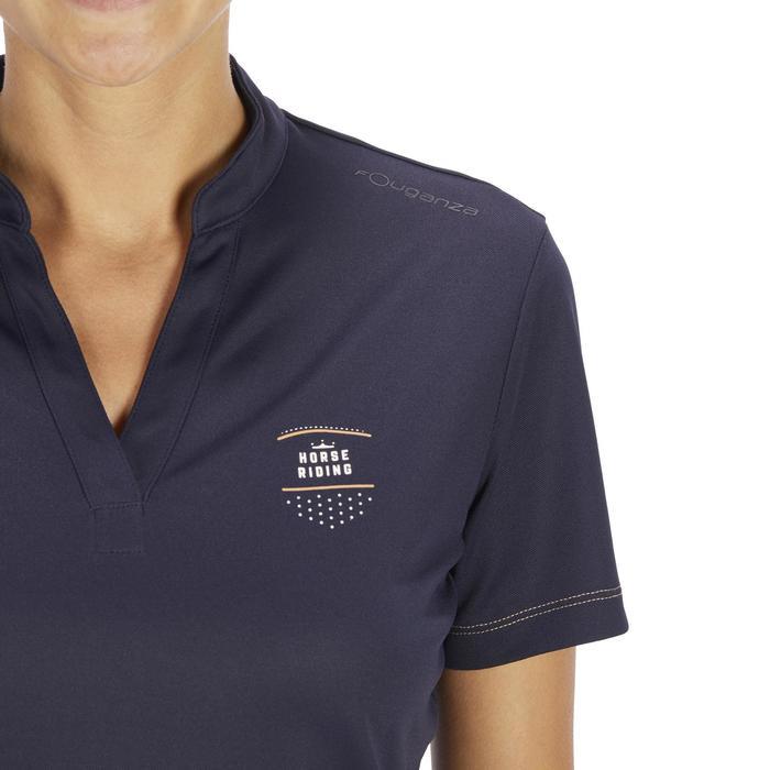 Polo manches courtes équitation femme PL500 MESH bleu marine et - 1255194