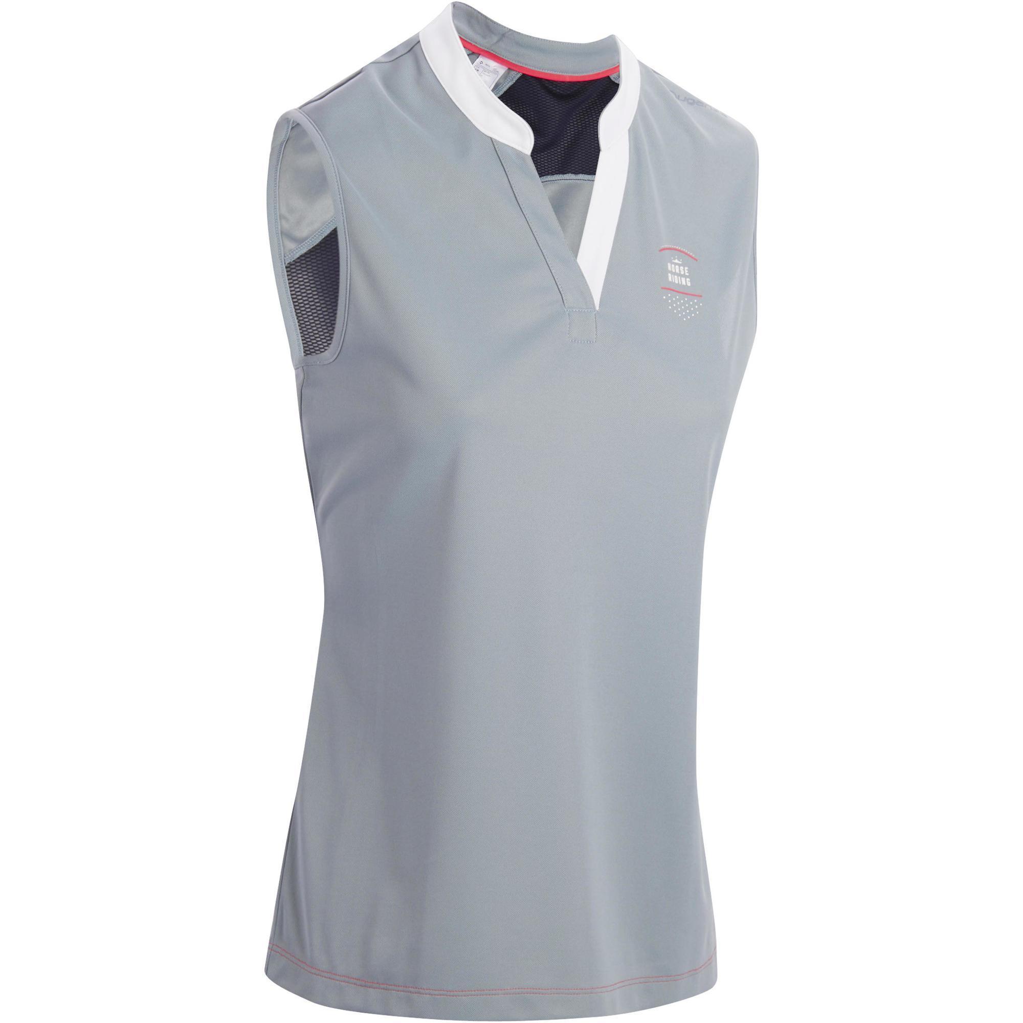 Fouganza Mouwloos damesshirt ruitersport DEB500 mesh grijs/marineblauw
