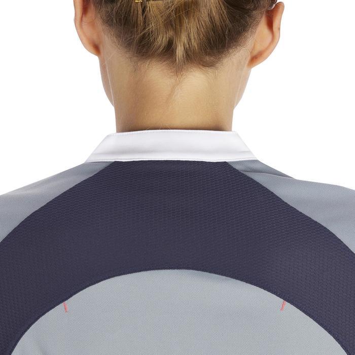 Mouwloos damesshirt ruitersport DEB500 mesh grijs/marineblauw