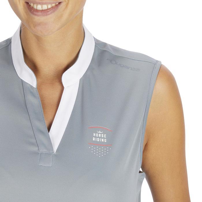 Camiseta sin mangas equitación mujer DEB500 MESH gris y azul marino