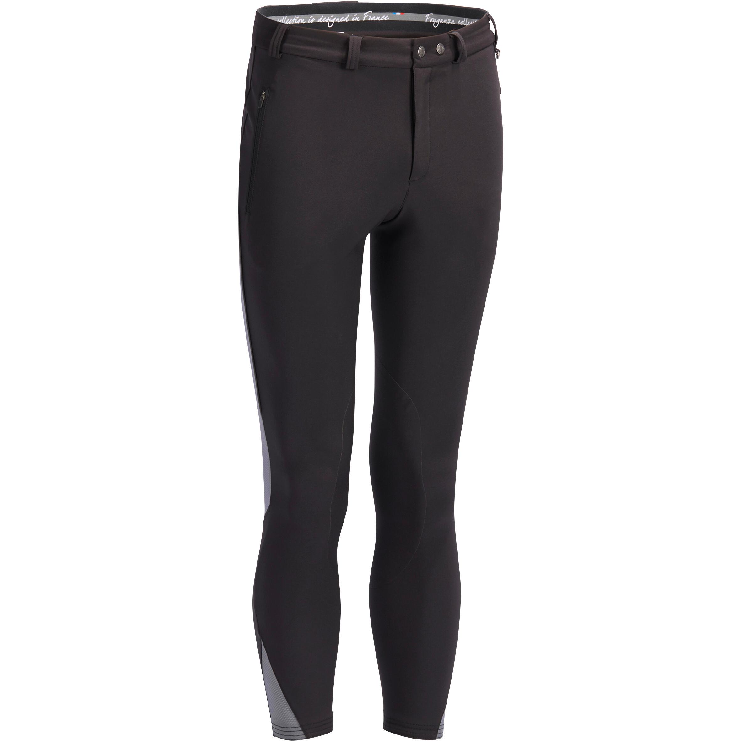 Pantalon équitation homme 500 mesh noir et gris fouganza