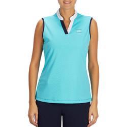 Mouwloze polo ruitersport dames 500 Mesh turquoise en marineblauw