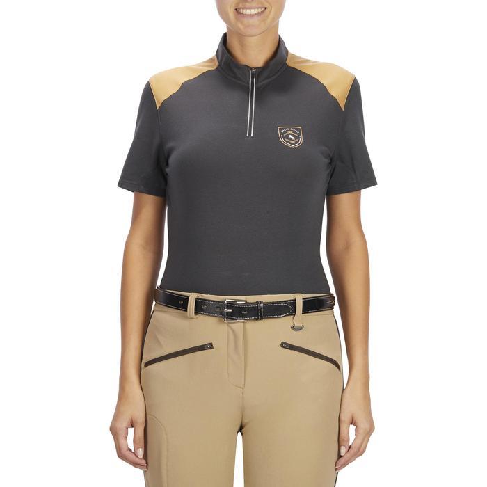Reit-Poloshirt Kurzarm 500 Damen grau/camel