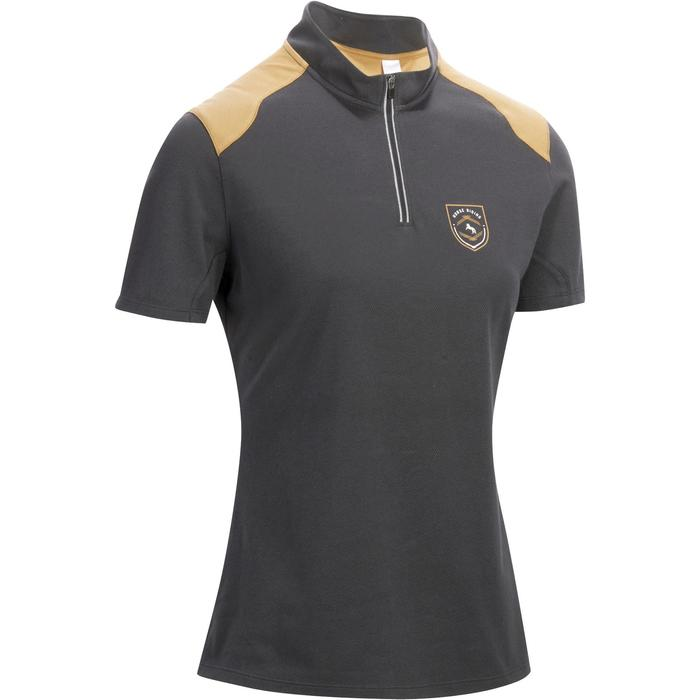 PL500 Women's Horse Riding Short Sleeves Polo Shirt - Grey/Camel