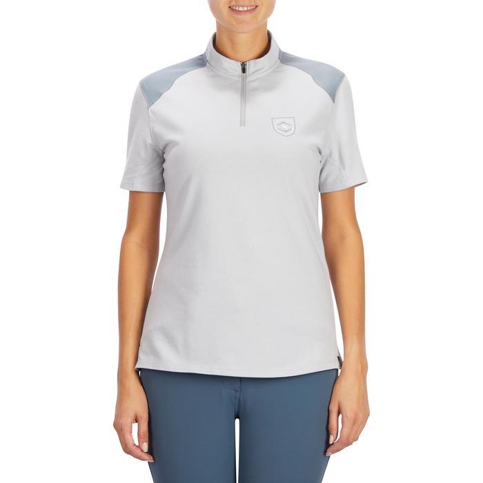 Reit-Poloshirt Kurzarm 500 Damen perlgrau/dunkelgrau