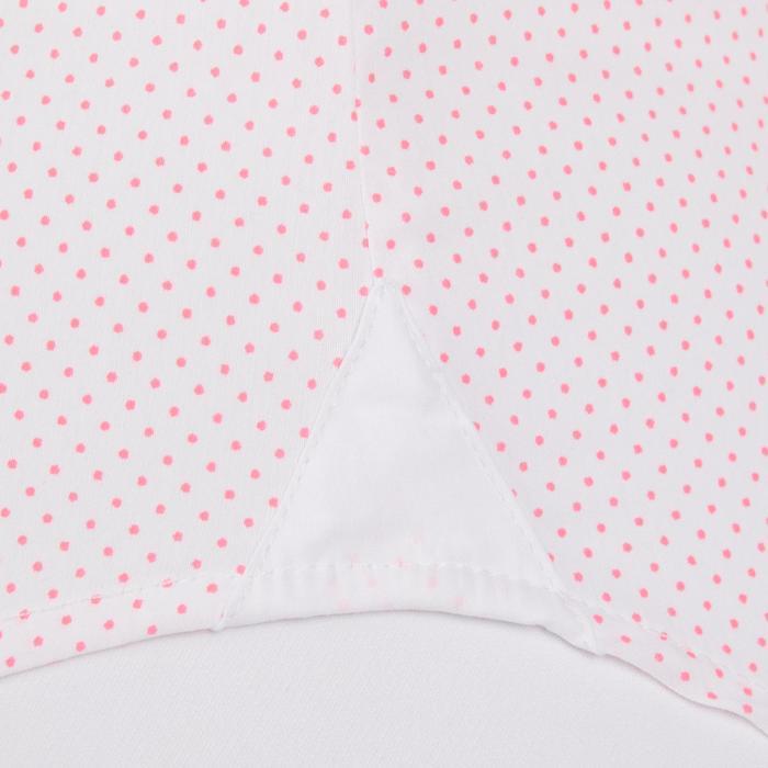 Ärmellose Turnier-Reitbluse Damen weiß mit rosa Punkten