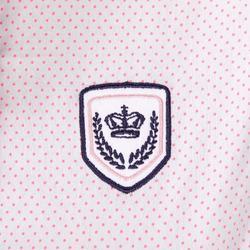 Mouwloze wedstrijdblouse voor dames wit met roze stippen