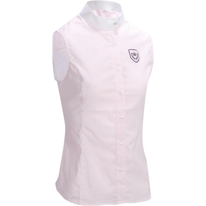 Blusa sin mangas Concurso equitación mujer Blanco con lunares rosa