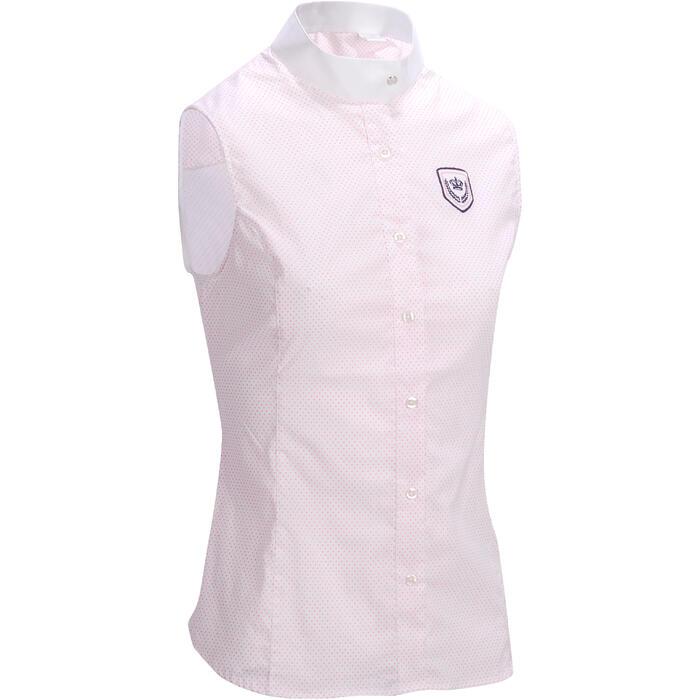 Camisa Equitación Okkso Mujer Blanco con Rosa Sin Mangas Concurso y Competición